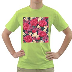 Pink Roses And Daisies Green T Shirt