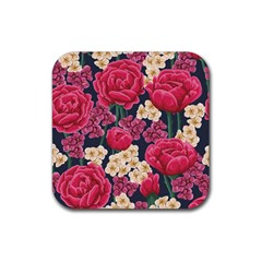 Pink Roses And Daisies Rubber Coaster (square)