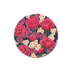 Pink Roses And Daisies Magnet 3  (round)
