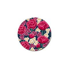 Pink Roses And Daisies Golf Ball Marker