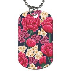 Pink Roses And Daisies Dog Tag (two Sides)