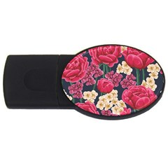 Pink Roses And Daisies Usb Flash Drive Oval (4 Gb)