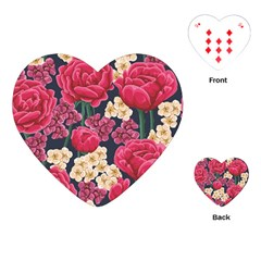 Pink Roses And Daisies Playing Cards (heart)