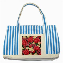 Pink Roses And Daisies Striped Blue Tote Bag