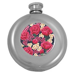 Pink Roses And Daisies Round Hip Flask (5 Oz)