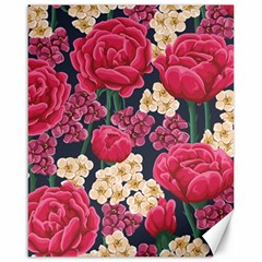 Pink Roses And Daisies Canvas 16  X 20