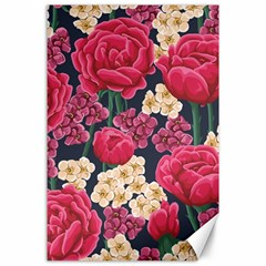 Pink Roses And Daisies Canvas 24  X 36