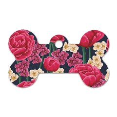Pink Roses And Daisies Dog Tag Bone (one Side)