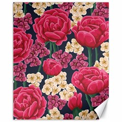 Pink Roses And Daisies Canvas 11  X 14