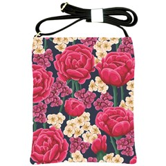 Pink Roses And Daisies Shoulder Sling Bags