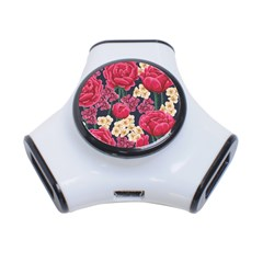 Pink Roses And Daisies 3 Port Usb Hub