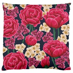 Pink Roses And Daisies Large Cushion Case (one Side)