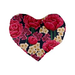 Pink Roses And Daisies Standard 16  Premium Heart Shape Cushions