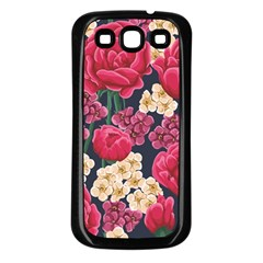 Pink Roses And Daisies Samsung Galaxy S3 Back Case (black)