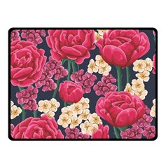 Pink Roses And Daisies Double Sided Fleece Blanket (small)