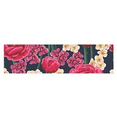 Pink Roses And Daisies Satin Scarf (oblong)