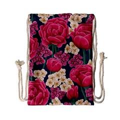 Pink Roses And Daisies Drawstring Bag (small)