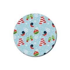 Winter Fun Pattern Rubber Round Coaster (4 Pack)