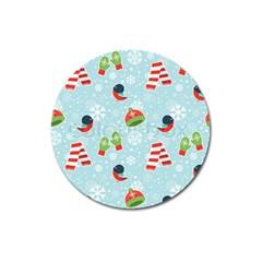 Winter Fun Pattern Magnet 3  (round)