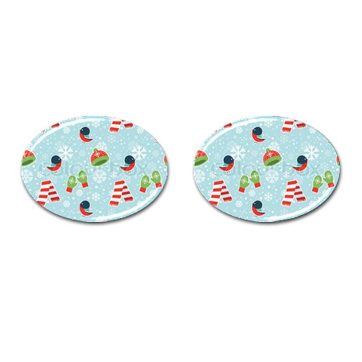 Winter Fun Pattern Cufflinks (Oval)