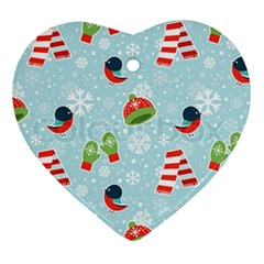 Winter Fun Pattern Heart Ornament (two Sides)
