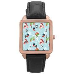 Winter Fun Pattern Rose Gold Leather Watch
