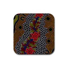 Aboriginal Art   Campsite Rubber Square Coaster (4 Pack)