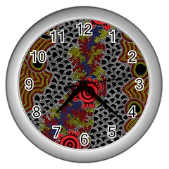 Aboriginal Art   Campsite Wall Clocks (silver)