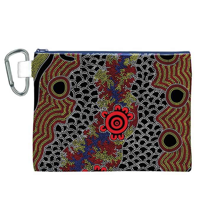 Aboriginal Art - Campsite Canvas Cosmetic Bag (XL)