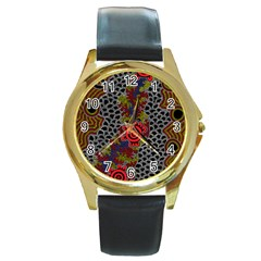 Aboriginal Art   Meeting Places Round Gold Metal Watch