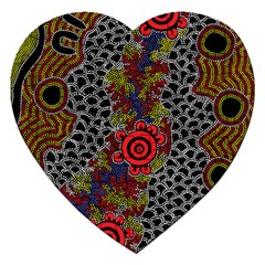 Aboriginal Art   Meeting Places Jigsaw Puzzle (heart)