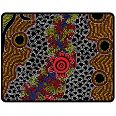 Aboriginal Art   Meeting Places Fleece Blanket (medium)