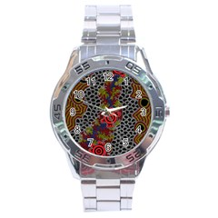 Aboriginal Art   Meeting Places Stainless Steel Analogue Watch