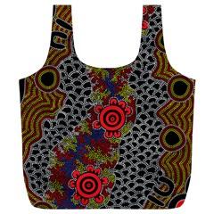 Aboriginal Art   Meeting Places Full Print Recycle Bags (l)