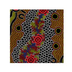 Aboriginal Art   Meeting Places Small Satin Scarf (square)
