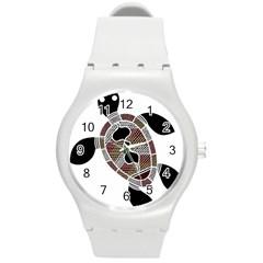 Aboriginal Art   Untitled Round Plastic Sport Watch (m)