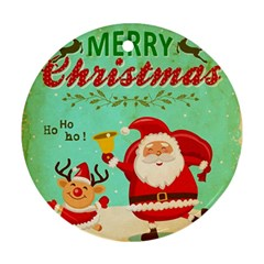 Vintage Merry Christmas Daning Santa And Reindeer Ornament (round)
