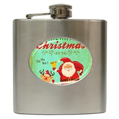 Vintage Merry Christmas Daning Santa And Reindeer Hip Flask (6 Oz)