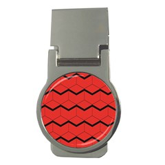Red Box Pattern Money Clips (round)