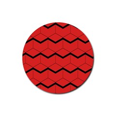 Red Box Pattern Rubber Round Coaster (4 Pack)
