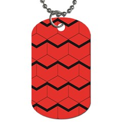 Red Box Pattern Dog Tag (two Sides)