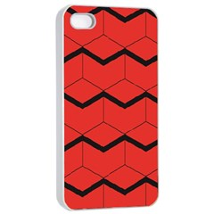 Red Box Pattern Apple Iphone 4/4s Seamless Case (white)