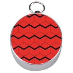 Red Box Pattern Silver Compasses