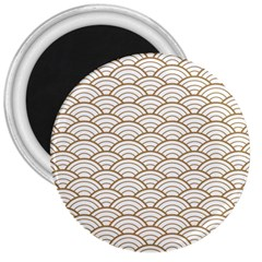 Art Deco,japanese Fan Pattern, Gold,white,vintage,chic,elegant,beautiful,shell Pattern, Modern,trendy 3  Magnets