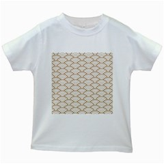 Art Deco,japanese Fan Pattern, Gold,white,vintage,chic,elegant,beautiful,shell Pattern, Modern,trendy Kids White T Shirts