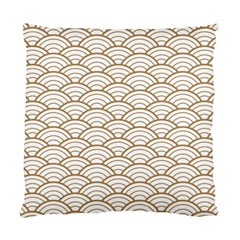 Art Deco,japanese Fan Pattern, Gold,white,vintage,chic,elegant,beautiful,shell Pattern, Modern,trendy Standard Cushion Case (one Side)