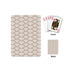 Art Deco,japanese Fan Pattern, Gold,white,vintage,chic,elegant,beautiful,shell Pattern, Modern,trendy Playing Cards (mini)