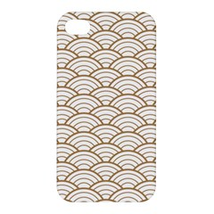 Art Deco,japanese Fan Pattern, Gold,white,vintage,chic,elegant,beautiful,shell Pattern, Modern,trendy Apple Iphone 4/4s Premium Hardshell Case