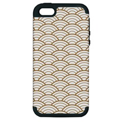 Art Deco,japanese Fan Pattern, Gold,white,vintage,chic,elegant,beautiful,shell Pattern, Modern,trendy Apple Iphone 5 Hardshell Case (pc+silicone)