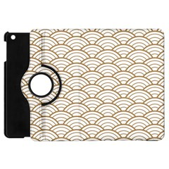 Art Deco,japanese Fan Pattern, Gold,white,vintage,chic,elegant,beautiful,shell Pattern, Modern,trendy Apple Ipad Mini Flip 360 Case